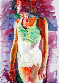 Tanz, Aquarellmalerei, Frau, Malerei