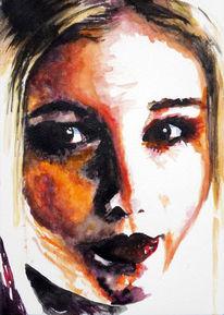 Aquarellmalerei, Frau, Portrait, Zeichnungen