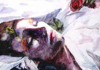 Schlaf, Aquarellmalerei, Tod, Portrait