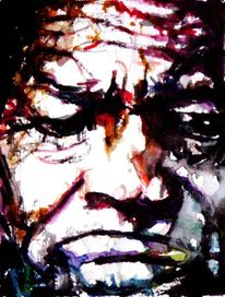 Dunkel, Aquarellmalerei, Portrait, Gesicht