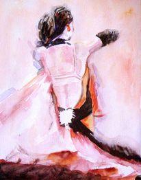 Tanz, Rücken, Kleid, Aquarellmalerei