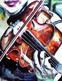 Violine, Musik, Aquarellmalerei, Frau