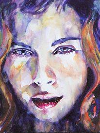 Aquarellmalerei, Portrait, Frau, Blick