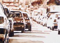 Wagen, Aquarellmalerei, Rush, Monochrom