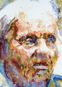 Aquarellmalerei, Alter mann, Portrait, Ausdruck