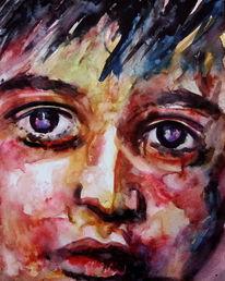 Aquarellmalerei, Ausdruck, Kind, Augen