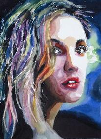 Portrait, Farben, Blick, Frau