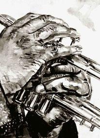 Schwarz weiß, Aquarellmalerei, Trompete, Monochrom