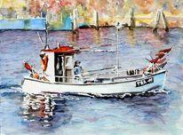 Schiff, Trave, Fischerboot, Aquarellmalerei