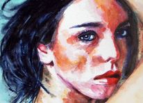 Portrait, Ausdruck, Frau, Blick