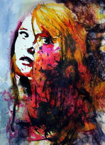 Frau, Ausdruck, Blick, Farben