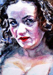 Gesicht, Portrait, Frau, Aquarellmalerei