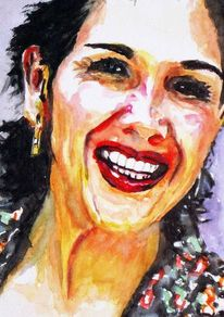 Lachen, Aquarellmalerei, Zähne, Frau