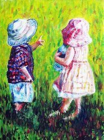 Junge, Garten, Kinder, Wiese
