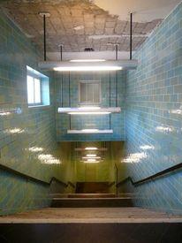 Treppe unterwelt u, Bahn neonlampen fließen, Fotografie, Architektur