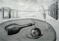 Sekt, Stillleben, Zeichnung, Landschaft