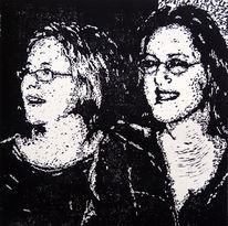 Portrait, Druck, Frau, Grafik