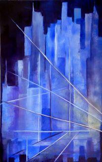 Blau, Stadt, Nacht, Abstrakt