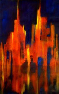 Licht, Ölmalerei, Abstrakt, Stadt