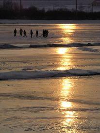 Wiese, Kälte, Menschen, Schlittschuhlaufen