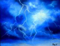 Blitz, Wolken, Gewitter, Pastellmalerei
