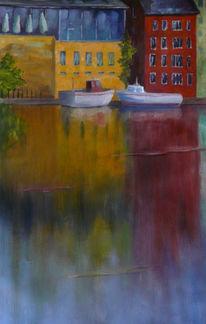 Häuser, Wasser, Spiegelung, Ölmalerei