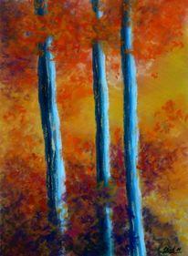 Herbst, Laub, Pastellmalerei, Wald