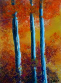 Pastellmalerei, Wald, Rot, Baum