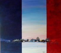 Landschaft, Morgen, Ölmalerei, Bauernhof