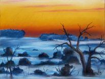 Sonnenaufgang, Baum, Pastellmalerei, Nebel