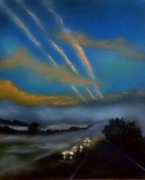 Straße, Landschaft, Auto, Wolken