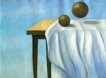Surreal, Tisch, Tuch, Ölmalerei