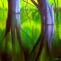 Grün, Ölmalerei, Wasser, Malerei