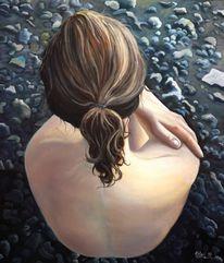 Menschen, Strand, Rücken, Akt