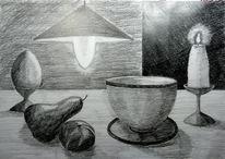 Kerzen, Tasse, Lampe, Zeichnung