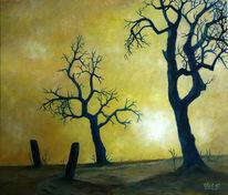 Winter, Ölmalerei, Licht, Sonne