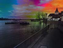 Der fluss, Landschaft, Sonnenuntergang, Surreal