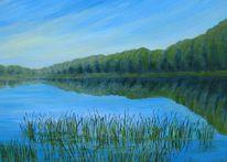 See, Morgendlich, Landschaft, Malerei