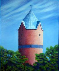 Wasserturm, Landschaft, Malerei