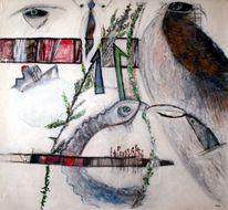 Vogel, Augen, Umschlingen, Wurm