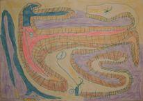 Wasserfarbe, Tinte, Buntstiftzeichnung, Bahnhof
