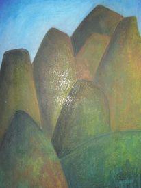 Zeichnung, Berge, Pastellmalerei, Zürich