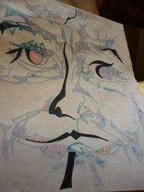 Filsstift, Filzen, Gesicht, Zeichnung