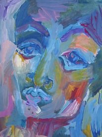 Gesicht, Gouachemalerei, Malerei, Bank