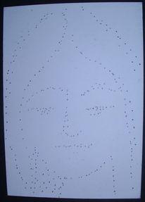 Gesicht, Papierdurchstich, Stich, Durchfahrt