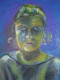 Wild, Zeichnung, Pastellmalerei, Selbstportrait
