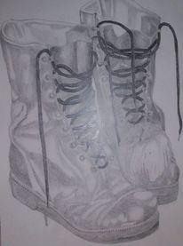 Apfel, Zeichnung, Bleistiftzeichnung, Stiefel