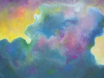 Malerei, Wolken, Gouachemalerei, Bank