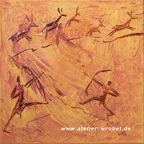 Malerei, Caveart, Jagd, Prähistorisch