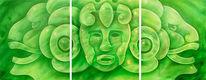 Kopf, Inka, Malerei, Acrylmalerei